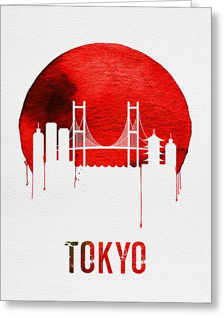 Tokyo Skyline Red Greeting Card by Naxart Studio
