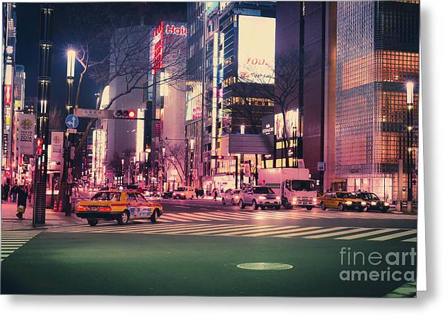 Tokyo Street At Night, Japan 2 Greeting Card