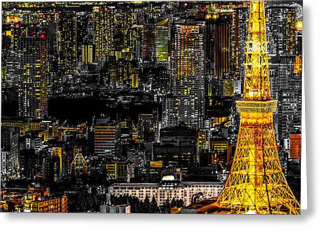 Tokyo Tower Panorama Greeting Card by Stefano Carniccio