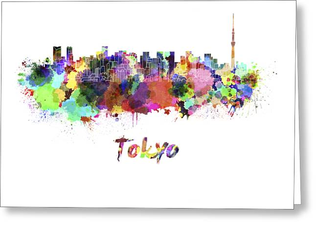 Tokyo V2 Skyline In Watercolor Greeting Card by Pablo Romero