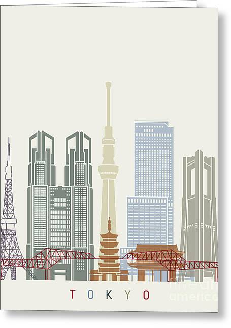 Tokyo V2 Skyline Poster Greeting Card by Pablo Romero