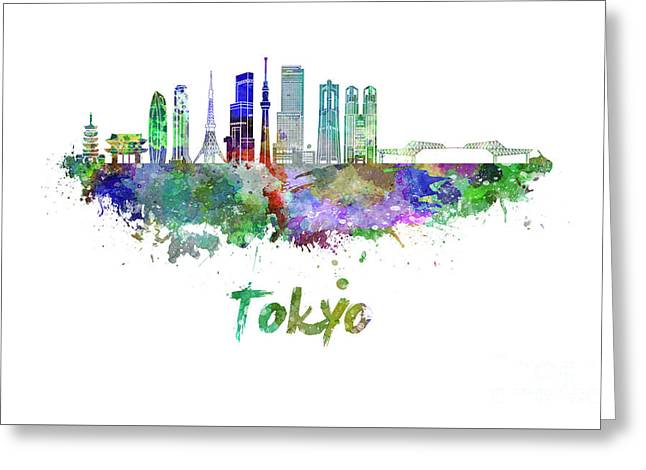 Tokyo V3 Skyline In Watercolor Greeting Card by Pablo Romero