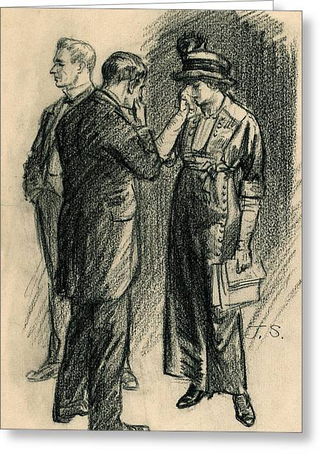 Told Her The Bill Was Lost, She Cried Greeting Card by John Sloan