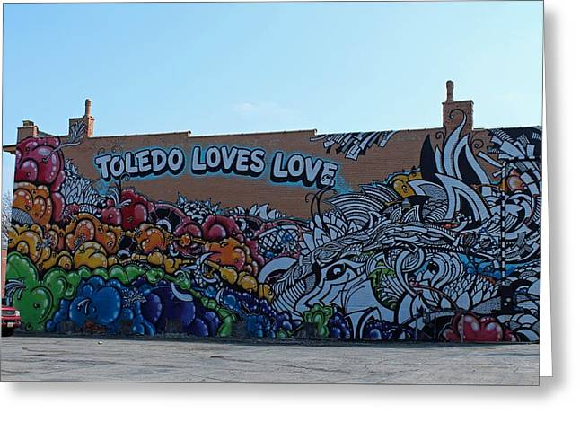 Toledo Loves Love Greeting Card by Michiale Schneider