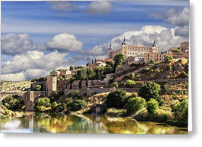 Toledo. Majestic Stone Fortress The Alcazar Is Visible From Any Part Of The City Greeting Card