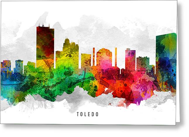 Toledo Ohio Cityscape 12 Greeting Card by Aged Pixel