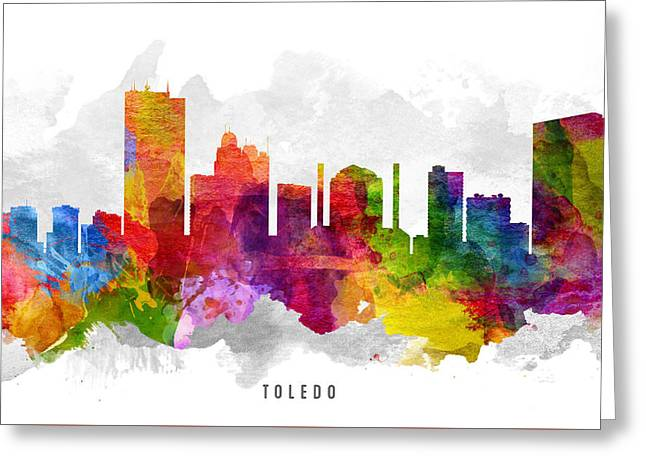 Toledo Ohio Cityscape 13 Greeting Card by Aged Pixel