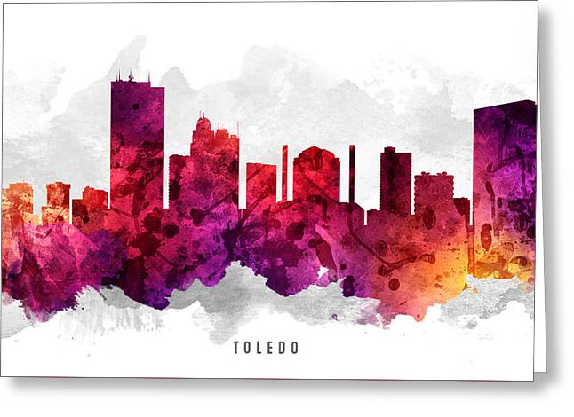 Toledo Ohio Cityscape 14 Greeting Card by Aged Pixel
