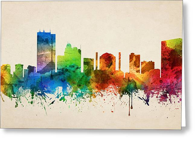 Toledo Ohio Skyline 05 Greeting Card by Aged Pixel