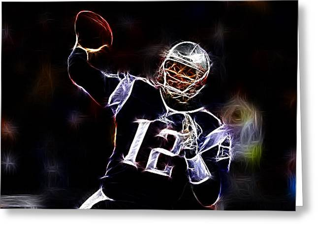 Patriot League Greeting Cards - Tom Brady - New England Patriots Greeting Card by Paul Ward