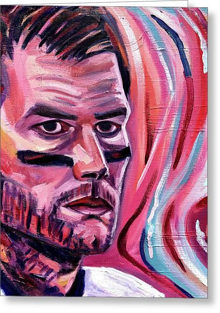 Tom Brady Eye Of The Tiger Greeting Card by Adam Campbell