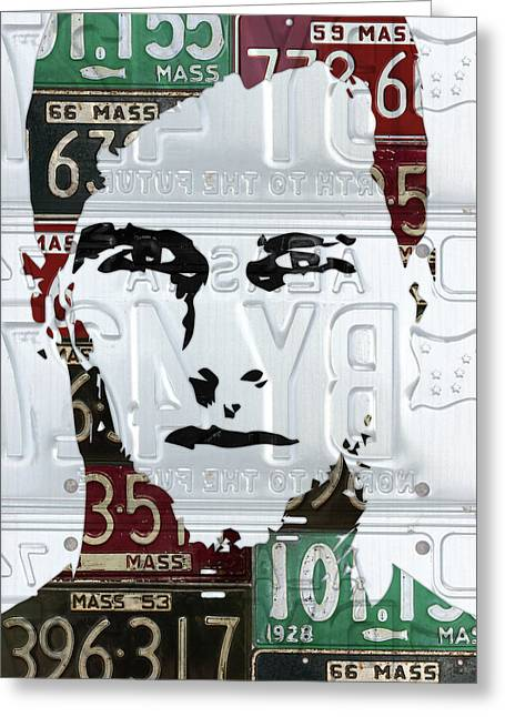 Tom Brady New England Patriots Massachusetts Recycled Vintage License Plate Portrait Original Greeting Card by Design Turnpike
