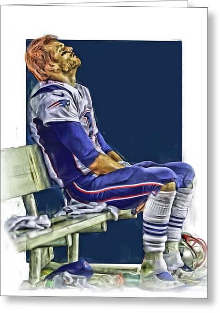 Tom Brady New England Patriots Oil Art Greeting Card