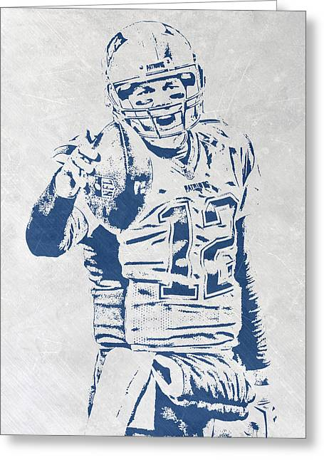 Tom Brady New England Patriots Pixel Art 3 Greeting Card