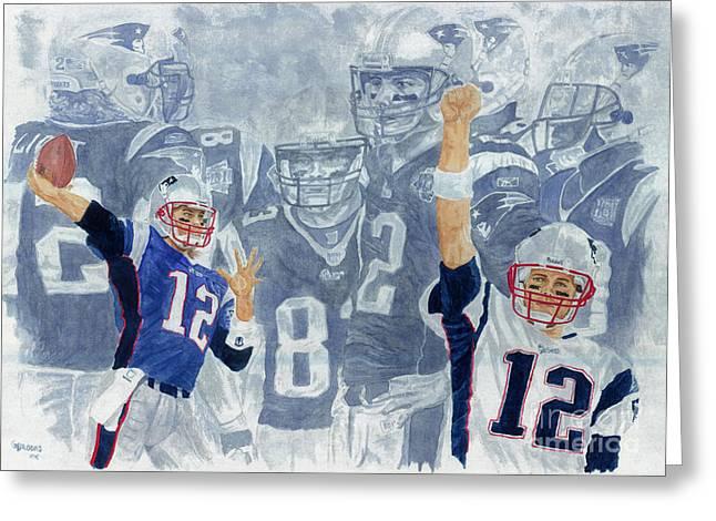Tom Brady Quarterback Study 1 Greeting Card by George  Brooks