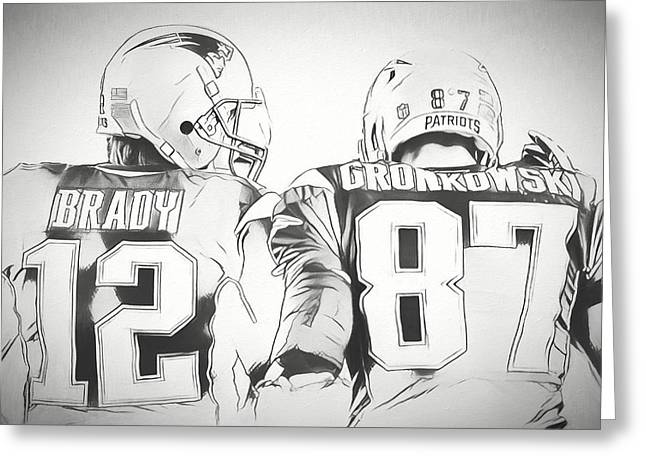 Tom Brady Rob Gronkowski Sketch Greeting Card