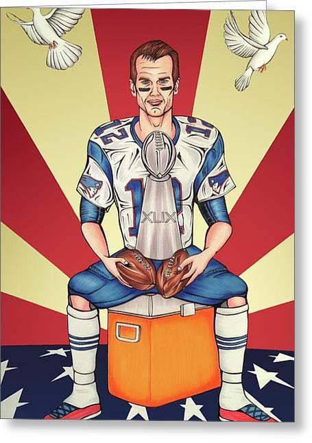 Tom Brady Soft Balls Hard Trophy Greeting Card by Adam Campbell