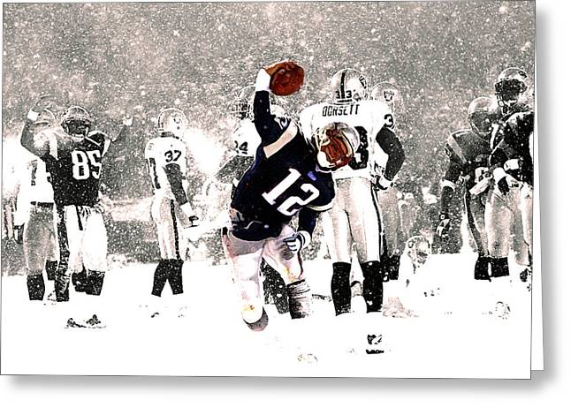 Tom Brady Touchdown Spike Greeting Card by Brian Reaves