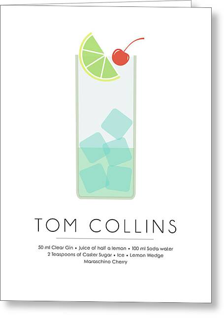 Tom Collins Classic Cocktail Minimalist Print Greeting Card