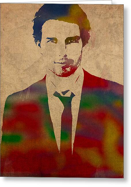 Tom Cruise Watercolor Portrait Greeting Card