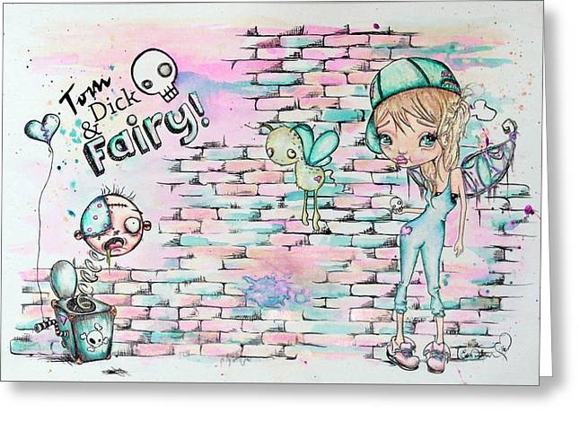Tom Dick And Fairy Greeting Card by Lizzy Love