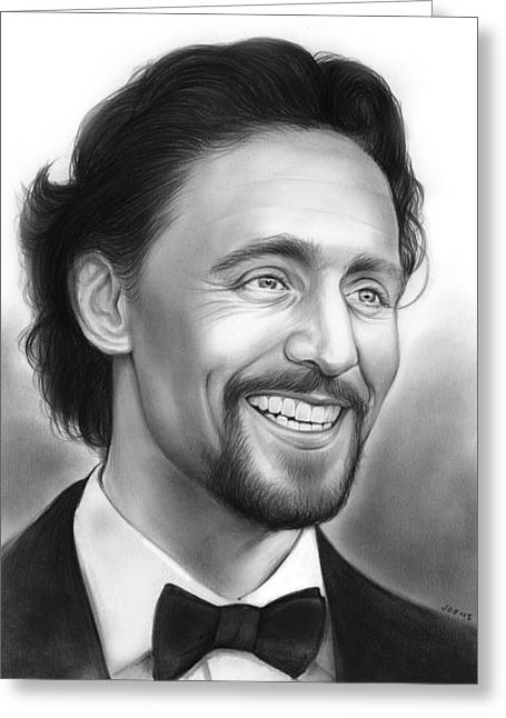 British Celebrities Greeting Cards - Tom Hiddleston Greeting Card by Greg Joens