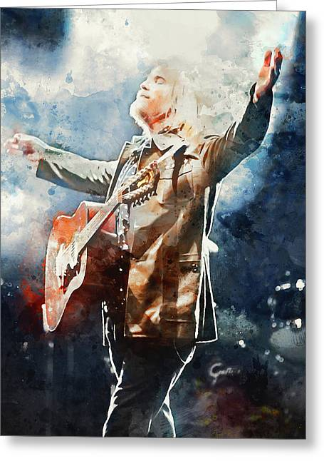 Tom Petty - Watercolor Portrait 13 Greeting Card