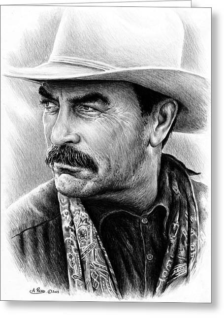 Tom Selleck As Monty Walsh Greeting Card by Andrew Read