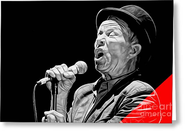 Tom Waits Collection Greeting Card by Marvin Blaine