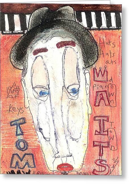Tom Waits Greeting Card by Robert Wolverton Jr