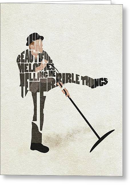 Tom Waits Typography Art Greeting Card