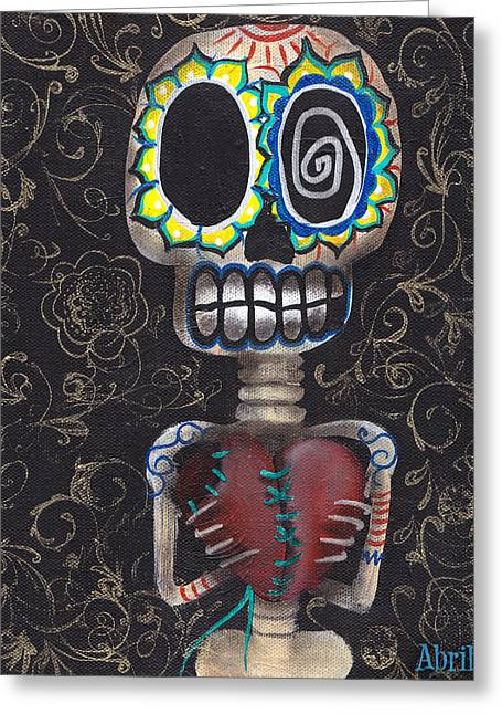 Toma Mi Corazon Greeting Card by  Abril Andrade Griffith