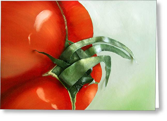 Tomato - Original Sold Greeting Card by Cathy Savels