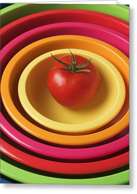 Stack Greeting Cards - Tomato in mixing bowls Greeting Card by Garry Gay