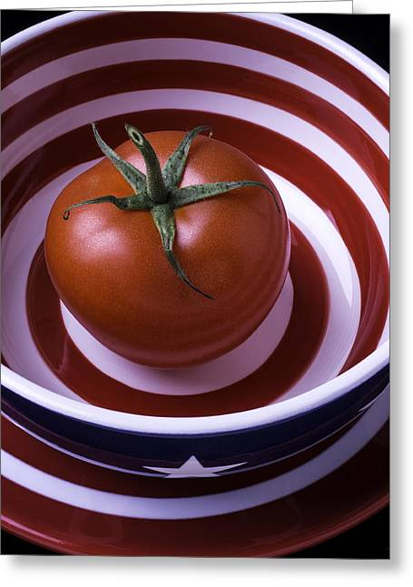 Tomato In Red And White Bowl Greeting Card