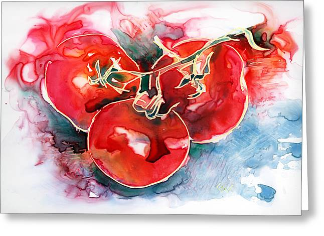 Tomato Juice Greeting Card by Yevgenia Watts
