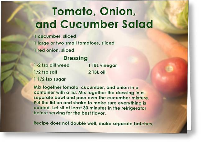 Tomato Onion Cucumber Salad Recipe Greeting Card