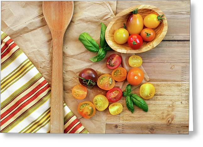 Tomato Still Life 2 Greeting Card by Rebecca Cozart