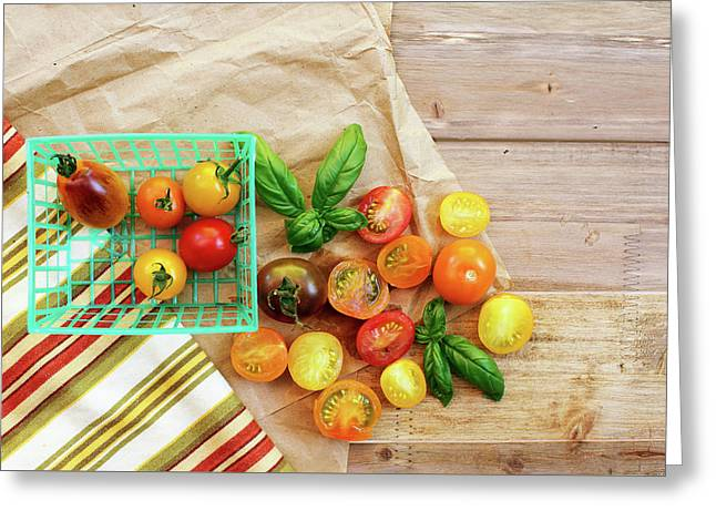 Tomato Still Life 6 Greeting Card by Rebecca Cozart