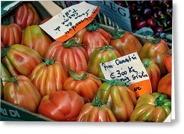 Tomatoes At Market Greeting Card by Joan Carroll