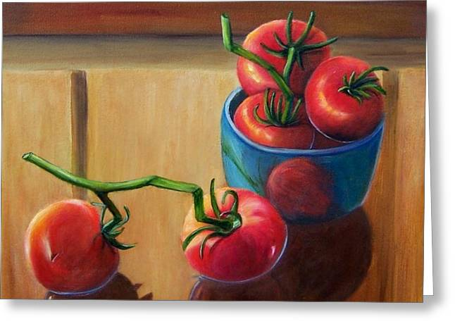 Tomatoes Fresh Off The Vine Greeting Card by Susan Dehlinger