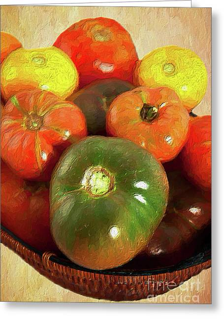 Greeting Card featuring the painting Tomatoes In A Basket Ap by Dan Carmichael