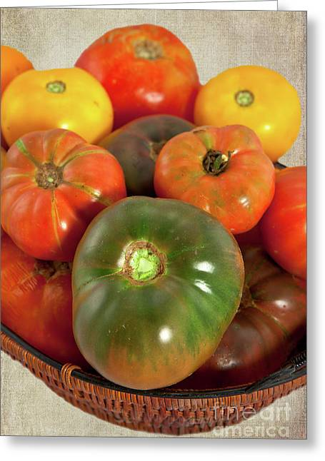 Greeting Card featuring the photograph Tomatoes In A Basket by Dan Carmichael