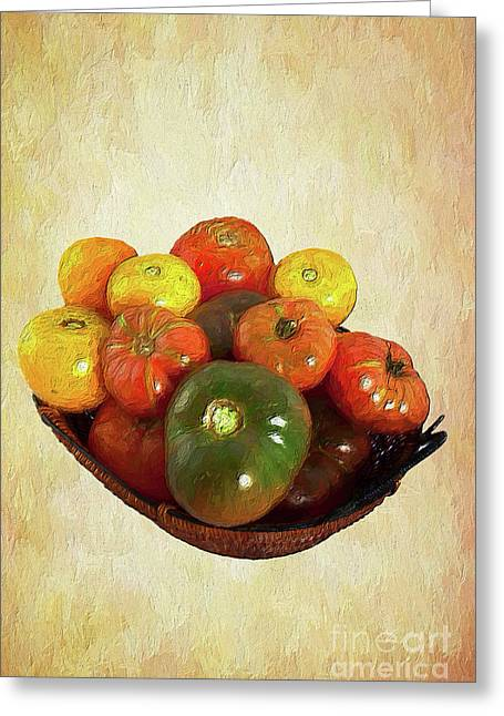 Greeting Card featuring the painting Tomatoes In A Basket Wide Ap by Dan Carmichael