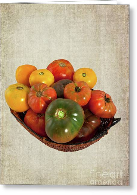 Greeting Card featuring the photograph Tomatoes In A Basket Wide by Dan Carmichael