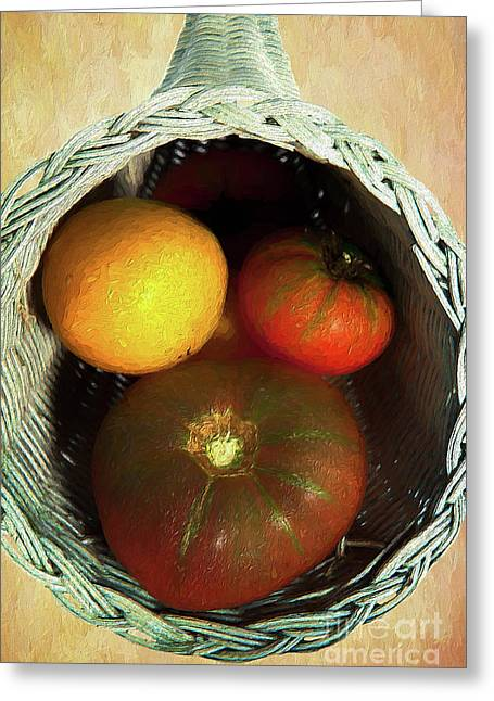Greeting Card featuring the painting Tomatoes In A Horn Of Plenty Basket 2 Ap by Dan Carmichael