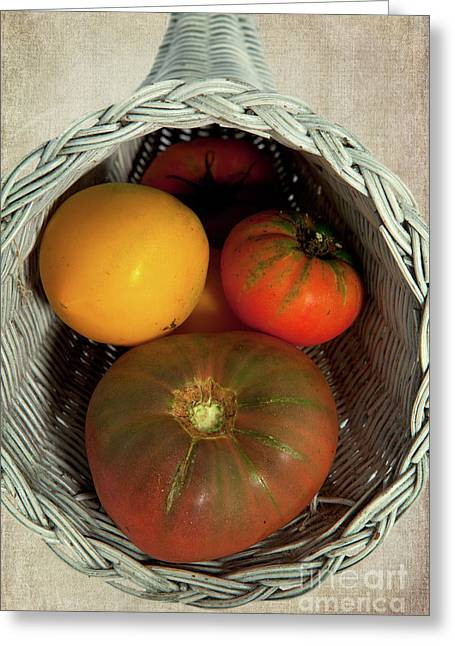Greeting Card featuring the photograph Tomatoes In A Horn Of Plenty Basket 2 by Dan Carmichael