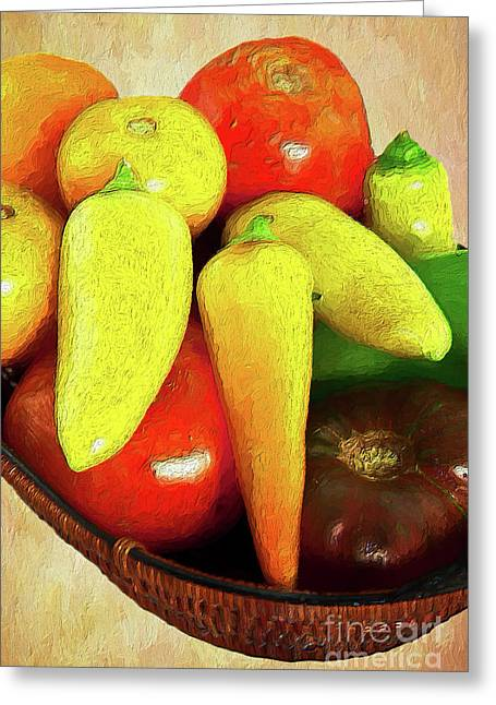 Greeting Card featuring the painting Tomatoes Peppers In A Basket Ap by Dan Carmichael