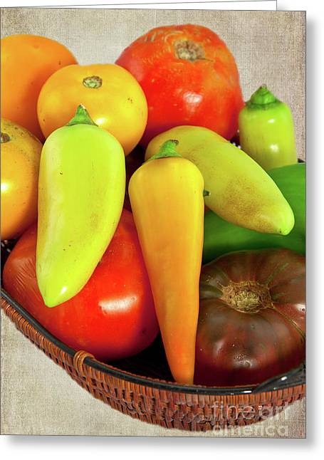 Greeting Card featuring the photograph Tomatoes Peppers In A Basket by Dan Carmichael