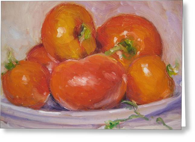 Tomatoes Greeting Card by Susan Jenkins